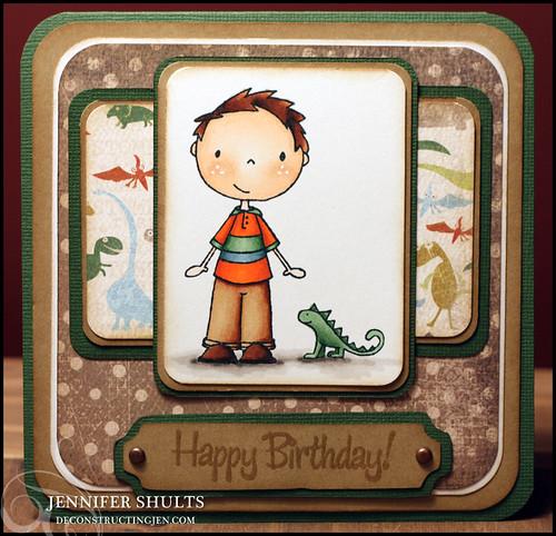Happy Birthday with dinosaur