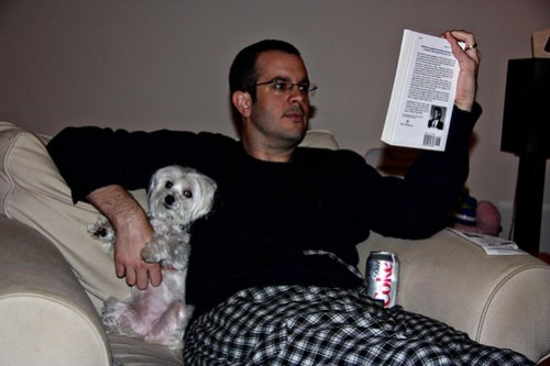 16/365: a man, his dog, and his diet coke
