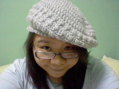 Grey crocheted hat by Jonette