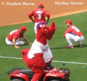 Philadelphia Phillies' Phanatic in Red for Spring Training Game