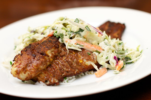 Jerk Rubbed Catfish with Spicy Slaw