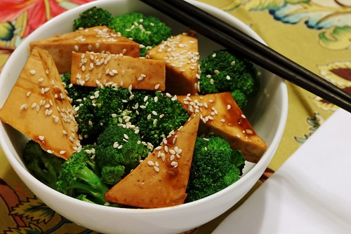 baked tofu and broccoli