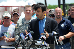 Governor Bobby Jindal and local officials flyover