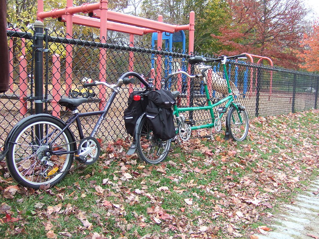 Bicycle train! Engine, baggage car, caboose!