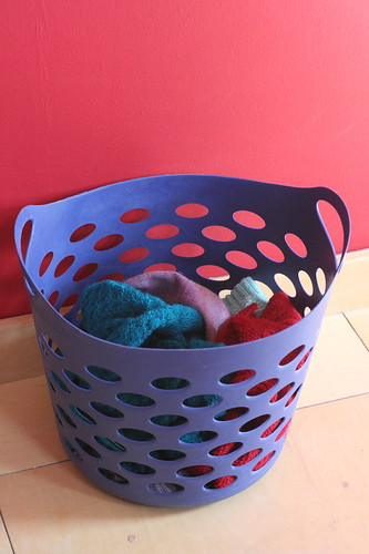 Wool laundry basket