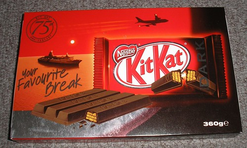 75th Anniversary Edition Dark Chocoate Kit Kats (bought at Heathrow Airport, UK) (front view)