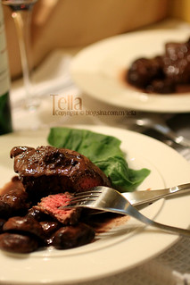 Filet mignon with red wine cream sauce