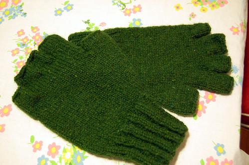 fingerless mitts I knit for Jason