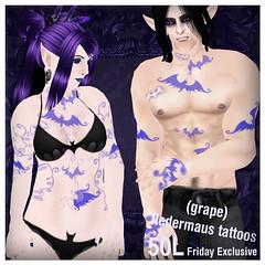 ~SilentSparrow~50L Exclusive Fledermaus Grape Tattoos
