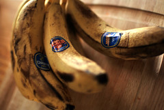ripe bananas with stickers...