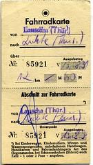 Deutsche Reichsbahn Fahrradkarte, Lauscha - Li...