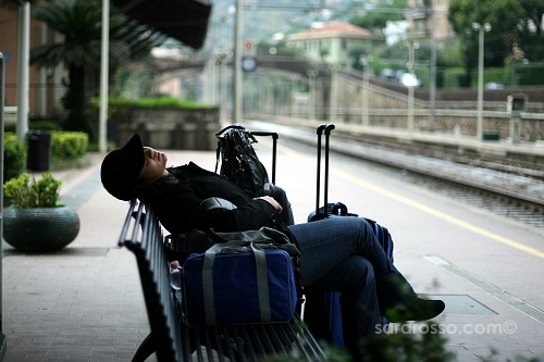 Taking a break at Santa Margherita Ligure train station, Italian Riviera, Italy