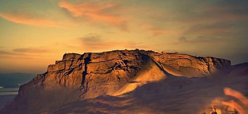 Amazing panorama of Masada at twilight by A   M, on Flickr