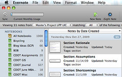 screenshot of Evernote and how I hit 1,000 notes