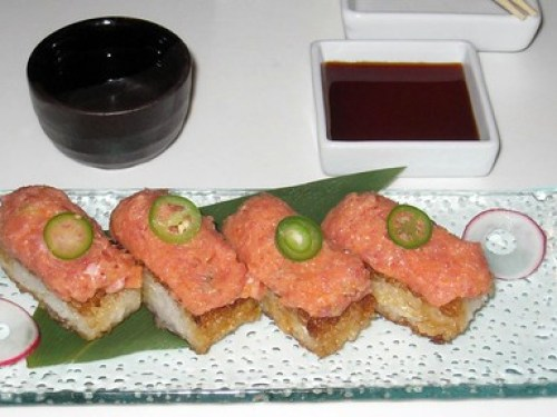 The infamous crispy rice with spicy tuna.
