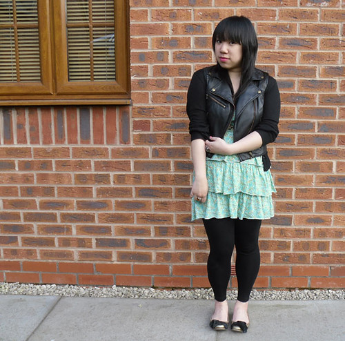 Faux leather green dress