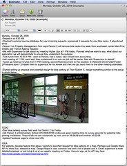 screenshot of Evernote and the example note I created