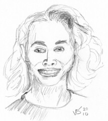 front view portrait of a woman, drawn on April 19,2010 (sketch 2)