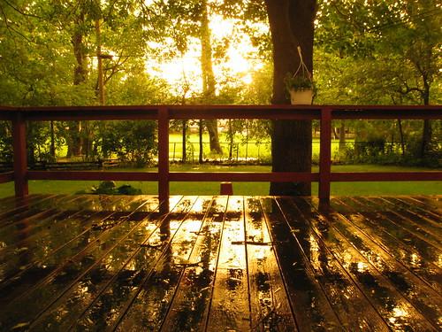Across the deck late on a rainy evening
