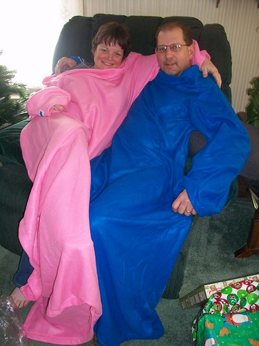 Mom and Dad in their new Snuggies