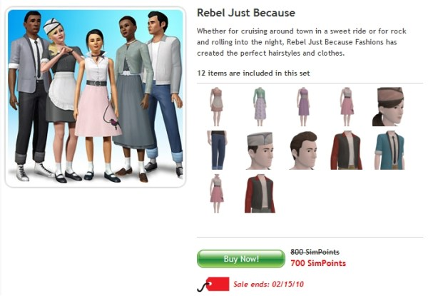 February 2010: 2 new sets at The Sims 3 Store