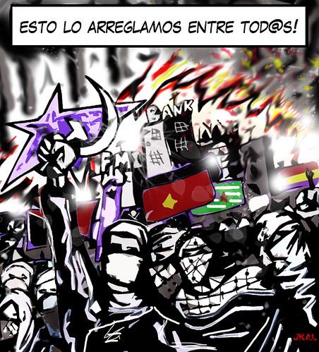 Slogan antikrisis por Kalvellido.