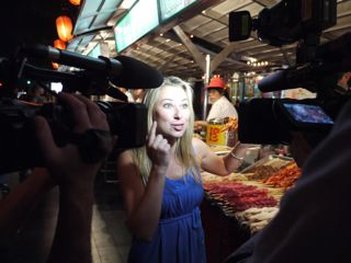 Julia Dimon Filming in Donghuamen Night Market Beijing