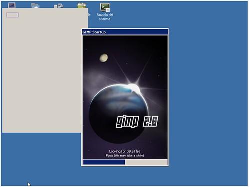 The GIMP iniciándose