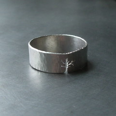 Custom Mens Sterling Silver Tree Ring