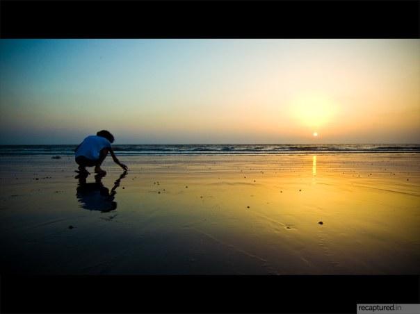 [she searches for sea-shells on the sea-shore]