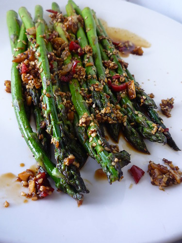 Asparagus with Chill, Garlic, Sesame Seeds, Ginger , Soy Sauce and  Lime Juice