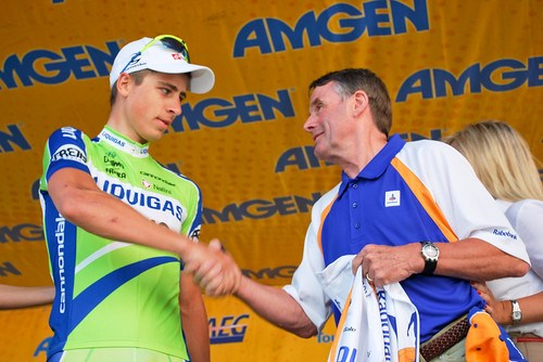Peter Sagan is congratulated by 1979 winner of Paris Roubaix