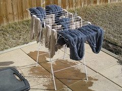 Hanging the yarn to dry