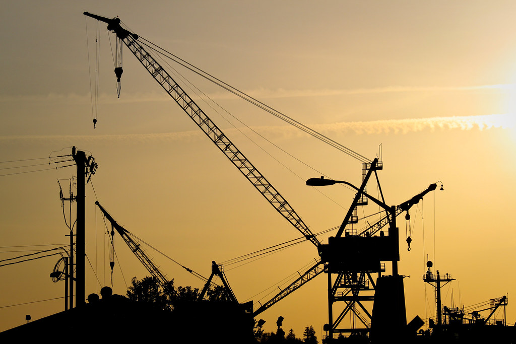 Harbor Island crane at sunset