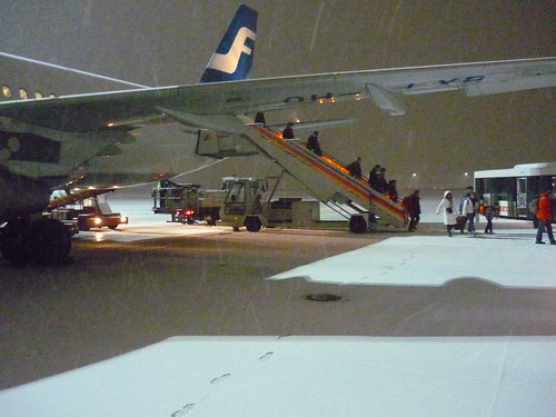 Arriving to Madrid in the snow