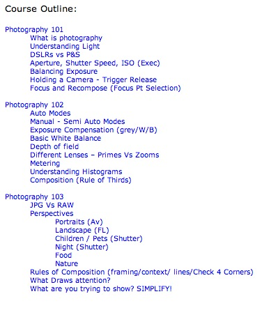 dSLR Course Outline