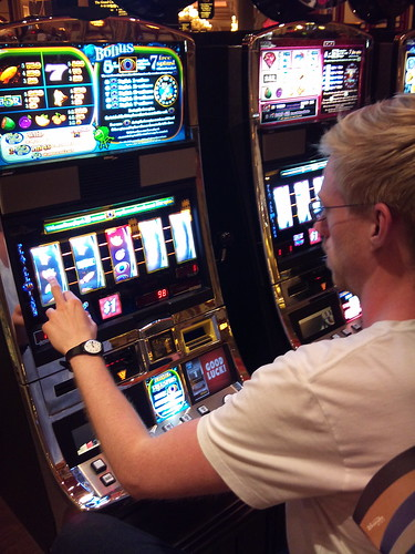 Anders trying his luck at a casino