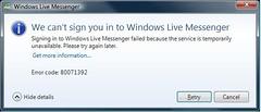Messenger error 80071392