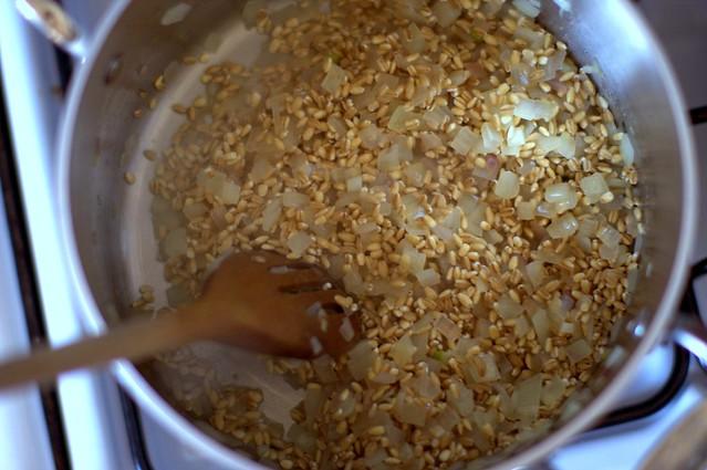 barley, onions, to deglaze with wine