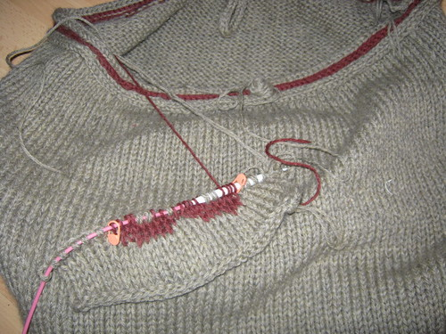Felted Bag, starting on two color pocket...