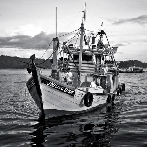 at the fisheries wharf, kota kinabalu {BW}
