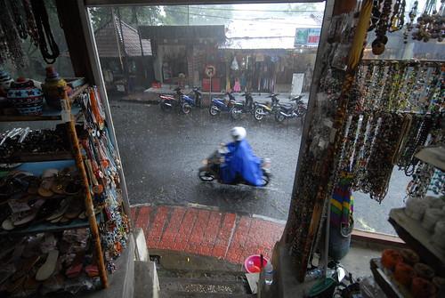 Caught in the rain near Ubud's Sacred Monkey Forest Sanctuary