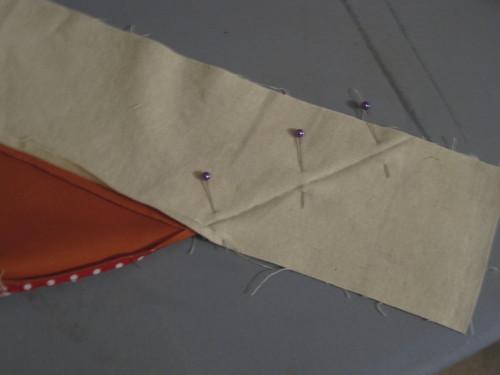 C:  Pin along crease & sew