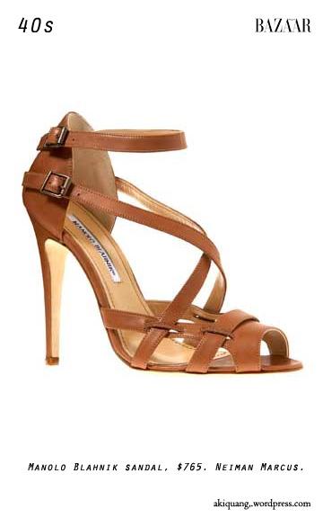 Manolo Blahnik sandal, $765. Neiman Marcus.