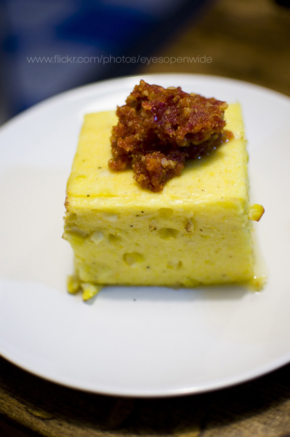 JGB polenta (roasted cubes with fresh corn, almond/cashew tomato paste)