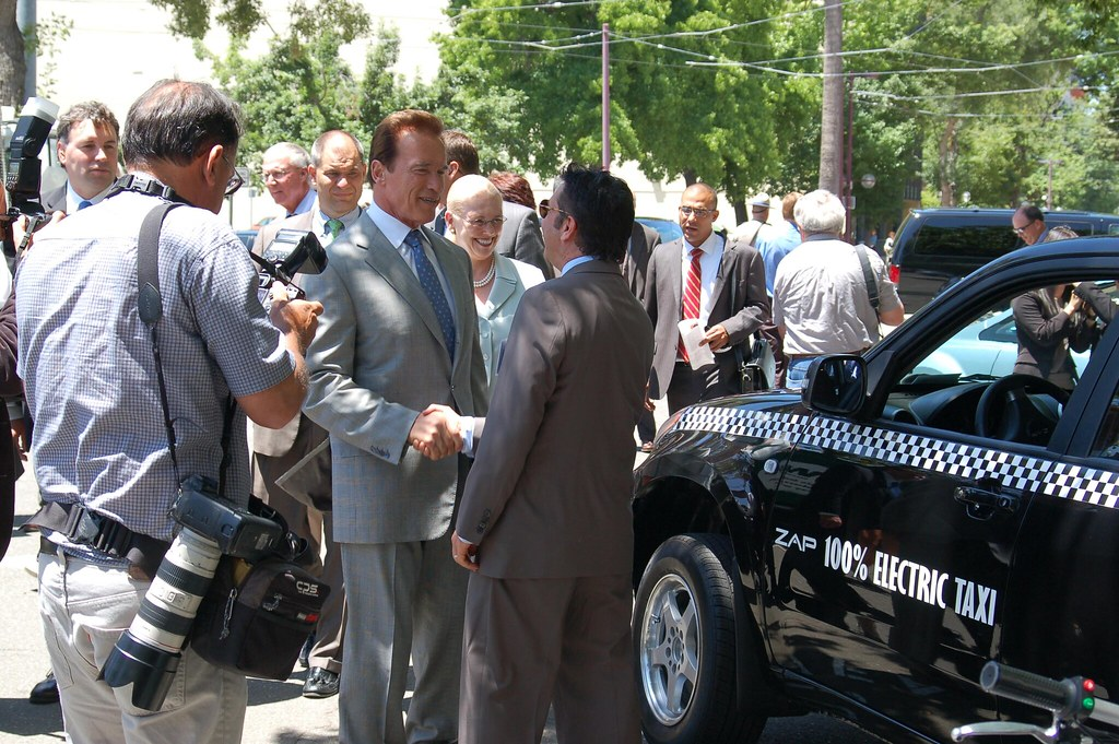 Governor Arnold Schwarzenegger and the ZAP Electric Taxi