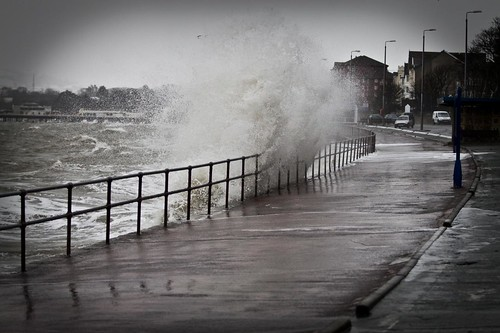 Waves and traffic conditions along Colwyn Bay Promenade.