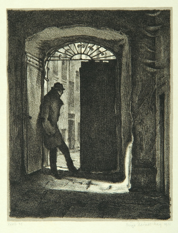 """Student Charousek,"" page 9 from the book ""Der Golem"""