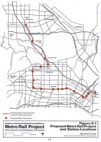 Final EIR/EIS Metro Rail map from 1983.