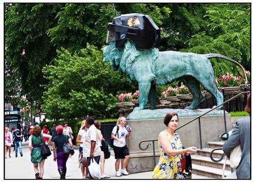 Art Institute Lions with Blackhawks Helmets